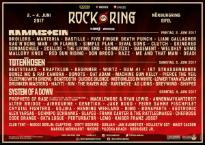 Line-Up Rock am Ring 2. – 4. Juni 2017 – Nürburgring, Stand: 11.05.2017